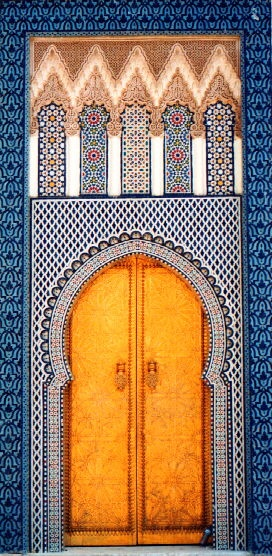 great door Fes, Morocco. Love the contrast of Warm Yellow and Sharp Blue that can be translated into a bold sun standing proud before a clear sky.