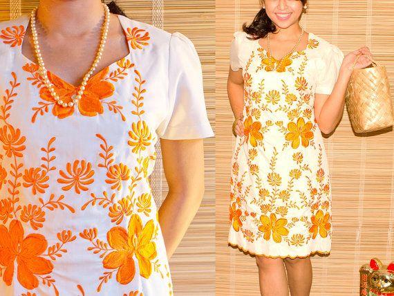 70s Floral Mini Terno, Embroidered Philippine Folk Dress, Cream & Orange, M