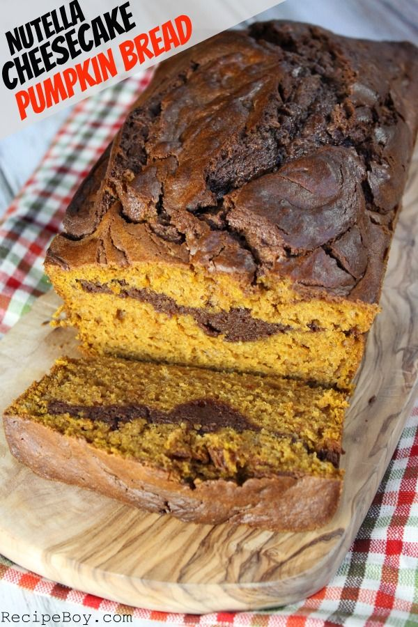 Nutella Cheesecake Pumpkin Bread recipe - one of the best bread recipes ever!
