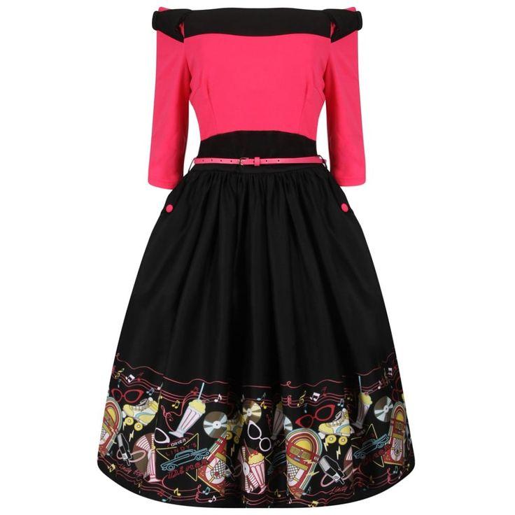 'Cara' Pink Diner Print Swing Dress