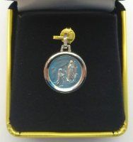 White Gold  Lourdes Apparition Pendant / Medal .