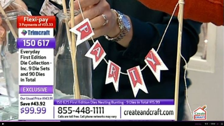 Step by step how to make a bunting cake topper - demo on Create & Craft USA