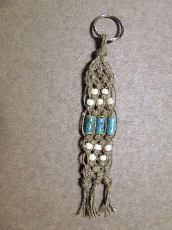 Braided Keychain Hemp Macrame with by CraftyCajunHousewife on Etsy, $6.50