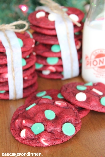 Red Velvet Cookies with Green Mint Chips by eatcakefordinner.blogspot.com  These are guaranteed to be the best cookie on the Christmas plate this year!