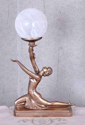 STYLOWA LAMPA Z FIGURĄ TANCERKI ART DECO