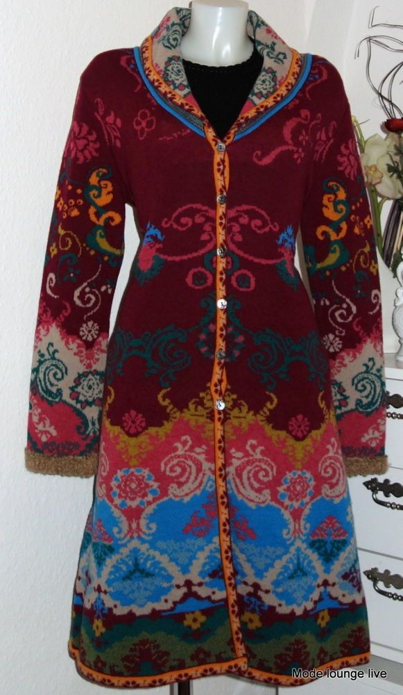 Ivko Wool Coat Jacquard Wool Coat Renaissance Pattern Red 32530 CHERRY #Ivko #OtherCoats