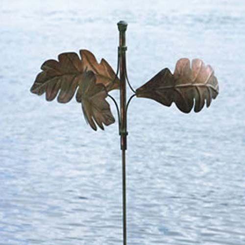 Metal Oak Leaf Straight Stake Kinetic Sculpture. Wind Spinner