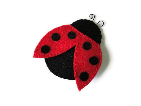Felt brooch-brooch felt-felt pin-felt ladybug brooch-ladybug brooch-red felt-black feltfelt jewelry-felt accessories-red ladybug brooch. $11.00, via Etsy.