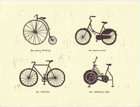 This print depicts different bicycle types (its evolution) with corresponding names: pennyfarthing, beach cruiser, road bike, exercise bike.