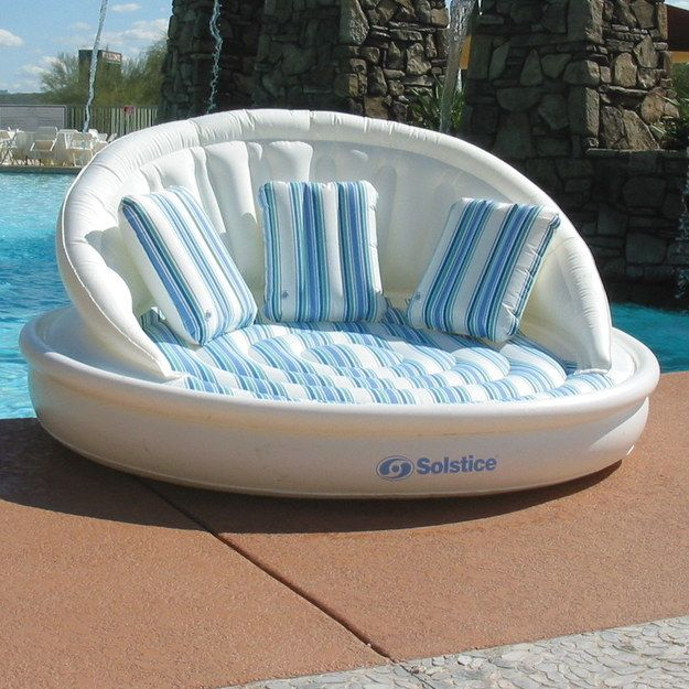 This snooze-ready sofa raft: | 13 Crazy Pool Accessories That Totally Redefine Cool~ WANT WANT WANT