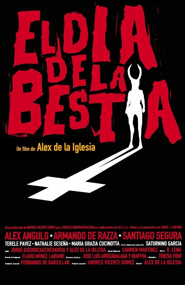 """El Dia de la Bestia"" Spanish Movie Poster by Oscar Mariné (Alex de la Iglesia 1995) / #Movieposter  GRANDE!!!"