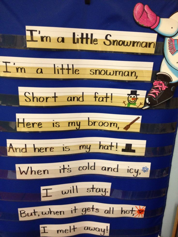 I'm a Little Snowman song for the pocket chart center @Anna Totten Catalanotto