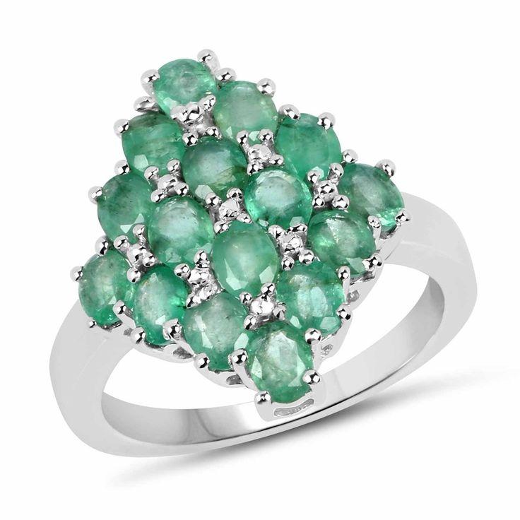 $126.50 - .925 Sterling Silver 2.40ctw Genuine Zambian Emerald Ring