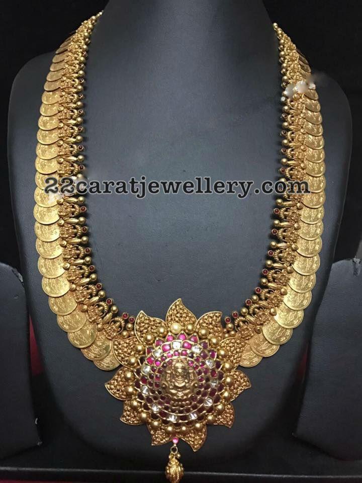 Large Kasu Haram with Lakshmi - Jewellery Designs