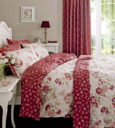 Red Floral Vintage Reversible Duvet Set