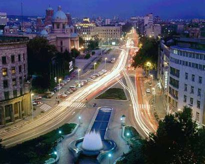 Belgrade, Serbia. Aerial view of downtown Belgrade. Belgrade is the capital and largest city of Serbia. It is located at the confluence of the Sava and Danube rivers, where the Pannonian Plain meets the Balkans. Its name translates to White city.