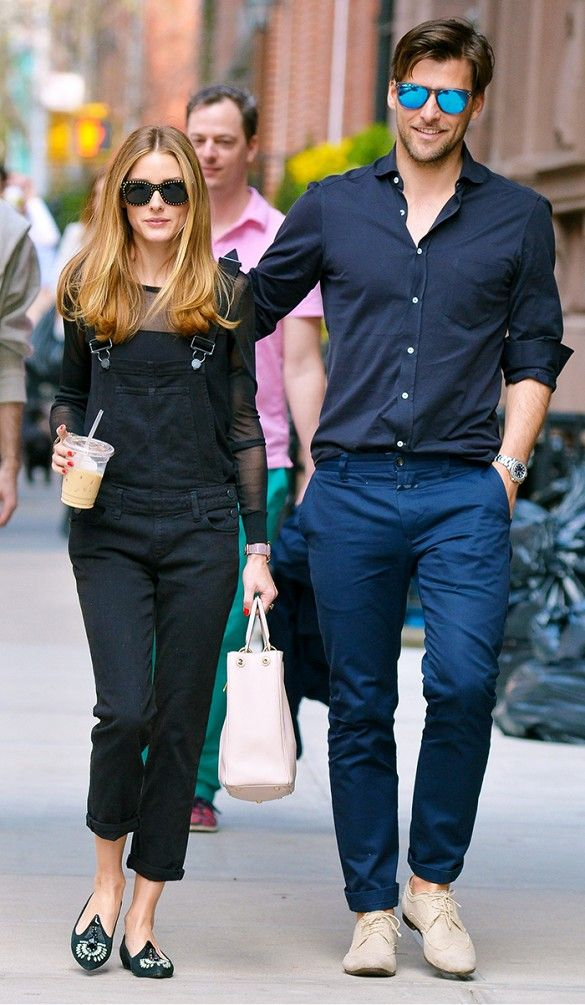 Olivia Palermo rocks daytime overalls, with sleek sunglasses and eye-catching flats // #celebritystyle
