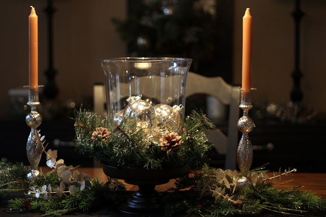 $10 Walmart candle turned into a sparkling centerpiece!: On A Budget, Walmart Hurricane, Christmas Decor Ideas, Holiday Centerpieces, Centerpieces Makeovers, Candles Centerpieces, Holidays Centerpieces, Holidays Decor, Between Scissors