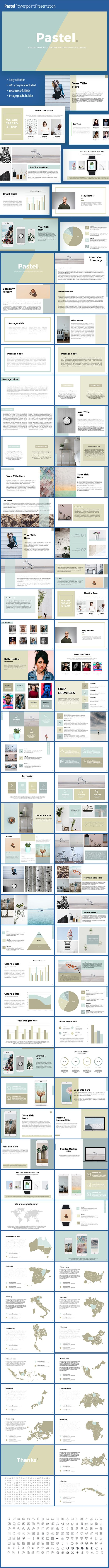 #Pastel #Powerpoint #Template - PowerPoint Templates Presentation Templates. 16:9 ASPECT RATIO - Easy and fully editable in PowerPoint (shape colour, size, position, etc) - 400 easy editable font icons kit. - IMAGE PLACEHOLDER READY - Easy editable data driven charts - Preview images are not included