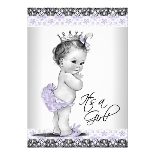 Lavender Purple and Gray Vintage Baby Girl Shower Announcement