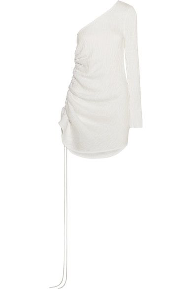Georgia Alice - One-shoulder Ruched Textured-crepe Dress - White - UK12