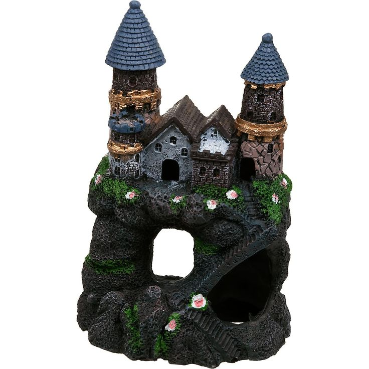 "Small, 4"" L X 2.5"" W X 6"" H. Precision crafted, super detailed castle includes several holes for fish to swim through. Non-toxic, made of fish-safe materials and colors."