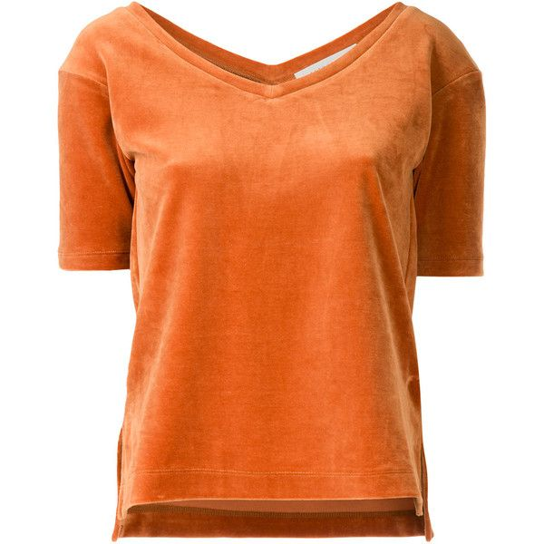 Estnation velvet T-shirt (435 BRL) ❤ liked on Polyvore featuring tops, t-shirts, orange, orange t shirt, velvet top, orange top, orange tee and velvet tees