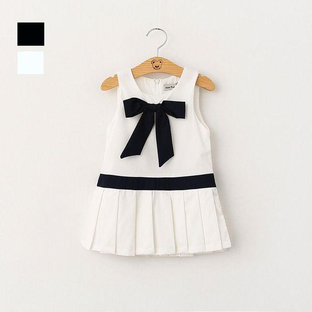 Pxuekids Girl Dress 2016 New brand Children Baby Bow Preppy Sleeveless Princess Dress Kids Summer Party Dresses for girls clthes