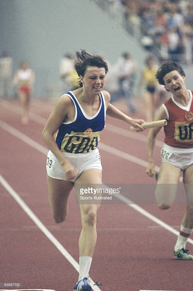 East Germany Barbel Eckert in action, winning Women's 4x100M Final at Olympic Stadium. Montreal, Canada 7/17/1976--8/1/1976