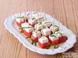 watermelon, mint and feta salad - cut into hearts