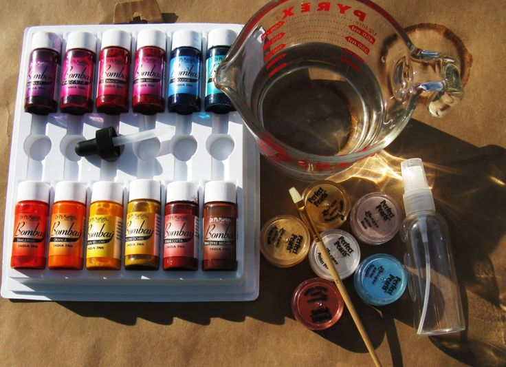 Make Your Own Mists w/Dr Ph. Martins Bombay India Ink and water. Inks are permanent and waterproof so layers do not run together when doing multiple layers...