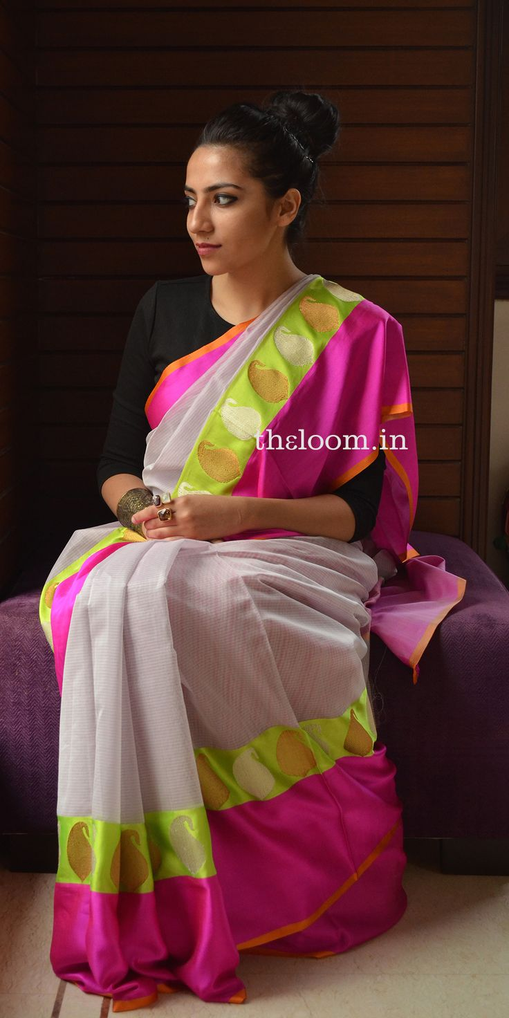 Handwoven Kora cotton Saree