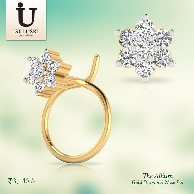 Shine bright like the moon with our Allium Diamond Nose Pin.#DiamondNosePin #NosePin #GoldNosePin #IskiUski