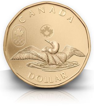 """The Olympics are over, but Canada issued this 2012 commemorative 1-dollar """"Lucky Loonie"""" this summer in honor of the Canadian athletes competing this year.  The article says that the Canadian Mint has issued a special Lucky Loonie coin for every Olympic games since, during the 2002 games, a coin was buried in the hockey rink ice for luck."""