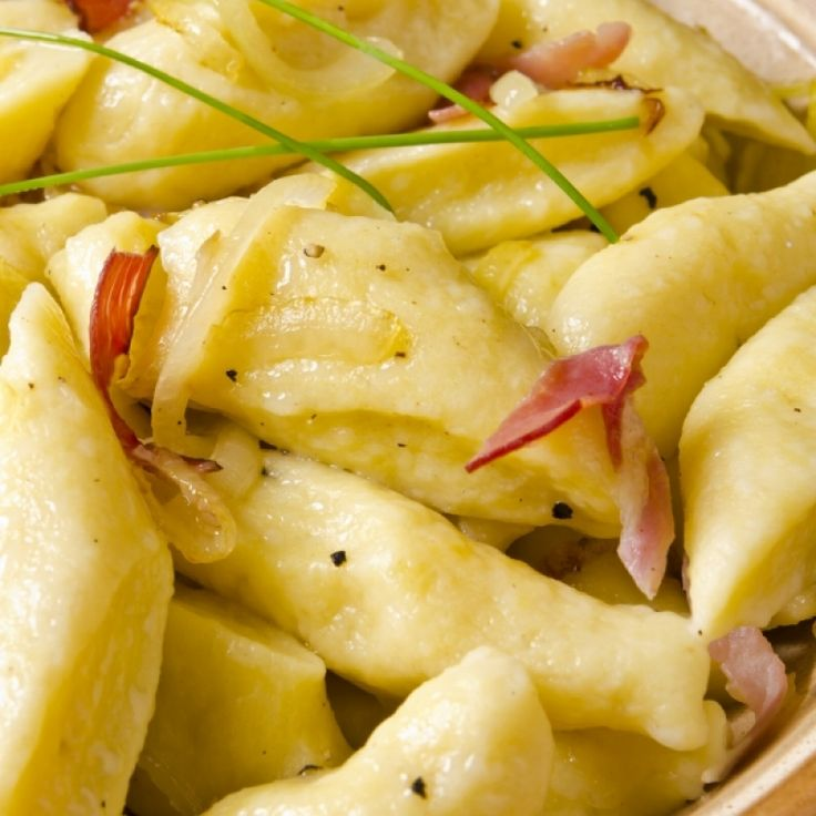 For the Pierogi Lover this is a recipe for a lazy version of Pierogi called Polish Pierogi Dumplings.��(Kopytka)You get the flavor you love, but dont need to stuff these, rather the potato is in the dough.. Polish Pierogi Dumplings with Bacon Bits  Recipe from Grandmothers Kitchen.