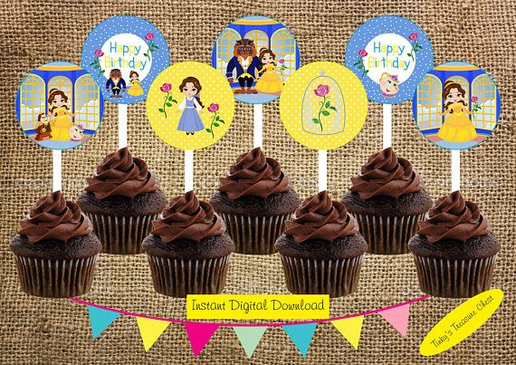 Beauty and the Beast Digital Cupcake Toppers. 2 Inch Circles.