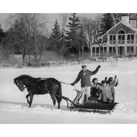 Mature couple with their children riding in a horsedrawn sleigh and waving their hands Canvas Art - (18 x 24)