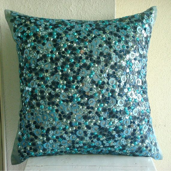 Sea The Dream - Throw Pillow Covers - 16x16 Inches Silk Pillow Cover with Textured Sequins: Silk Pillow
