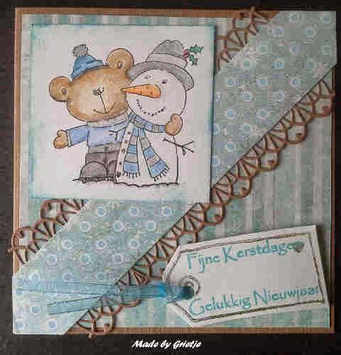 Grietje's kaartenhoekje: Kerstgroeten in blauw en kraft