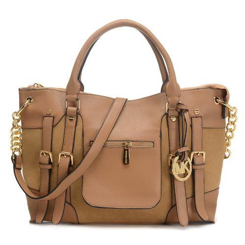 MICHAEL Michael Kors Satchel Mcgraw Leather Large Slim Tan Bag