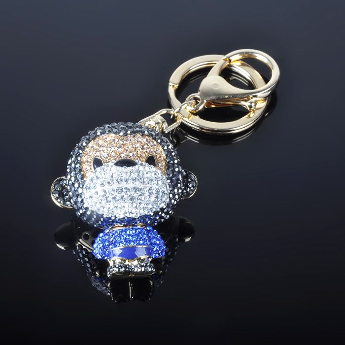 Lovely Colorful Monkey Cute Keychains with Rhinestone and Crystal