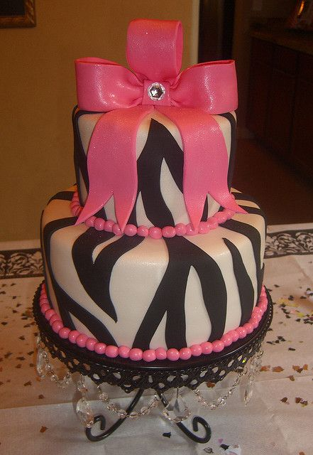 """Pink & Zebra Party Cake- """"YOU BROKE A PEICE OF BOW OFF MY CAKE... AND ATE IT!!!"""" - Heather Dubrow - RHOC!!! Haha!!"""
