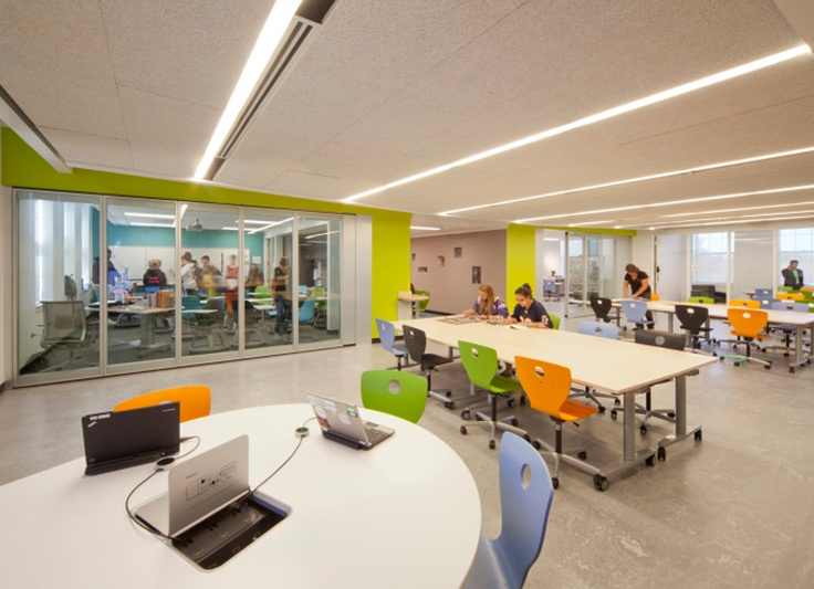 Most Classrooms Feature Large Glass Walls For Enhanced Light And Transparency The Second Floor Has A Central Flexible Collaborative Space