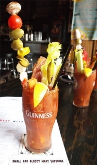 Brunch at Small Bar - bloody mary with everything including candied bacon.