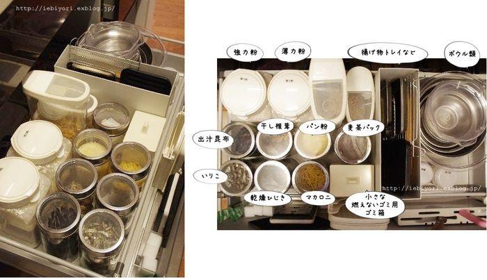 無印良品のファイルボックスを使って、ボウル類と麦茶パックなどの保存容器を仕切っています。ファイルボックスには、ステンレスバットや、トースター用の調理容器、カッティングボードなフラットなものを立てて収納。
