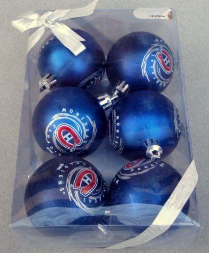 Montreal Canadiens NHL Hockey Christmas Tree Ball Ornament Box of 6 New Sealed