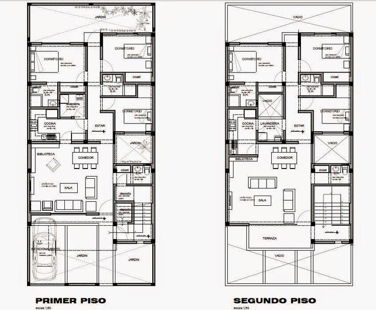 Dos opciones de vivienda bifamiliares en terreno de 9 x 20 m. diseñadas por Oniria Arquitectura . Ambas cuentan con un departamento por pi...