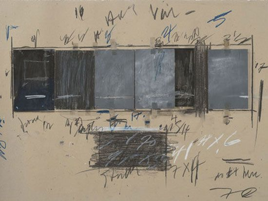 Cy Twombly, Untitled, 1970. Crayon, graphite pencil, ink, oil stick, colored pencil, tape, and cut and torn paper on paper. The Menil Collection, Houston; Gift of the artist. Photograph: Paul Hester © Cy Twombly Foundation
