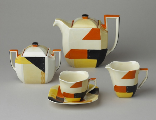 Clarice Cliff teapot sugar bowl creamer and teacup with saucer - Modern