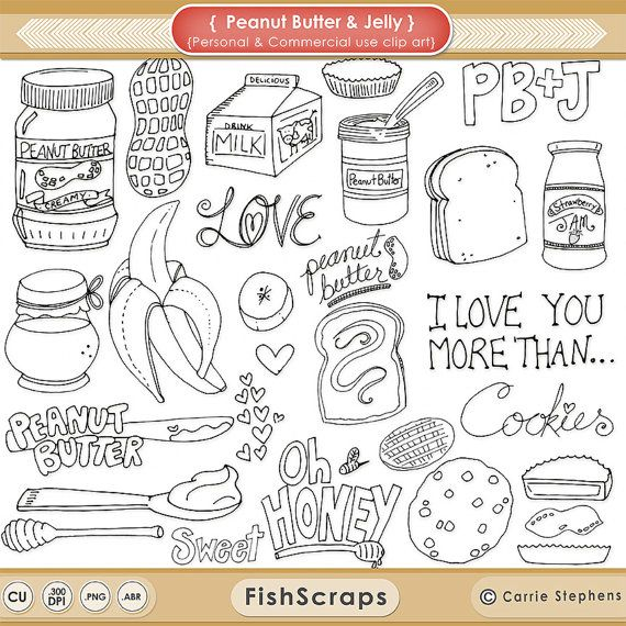 These Yummy Peanut Butter & Jelly Digital Stamps can be used for hand embroidery, crafts or Print and color with your favorite art makers, Copics - Prisma Pencils! The Doodle Outlines have been hand drawn by me and are included in the download as PNG files & Photoshop Brushes. These doodles can be used for personal and some small business commercial uses (please take a look at my terms for details ;)) You will receive individual PNG Clipart Outlines as well as a Photoshop Brush file. ...